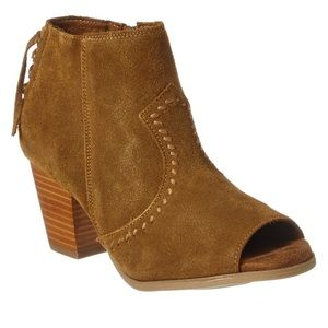 Minitonka- tan Suede open toe booties